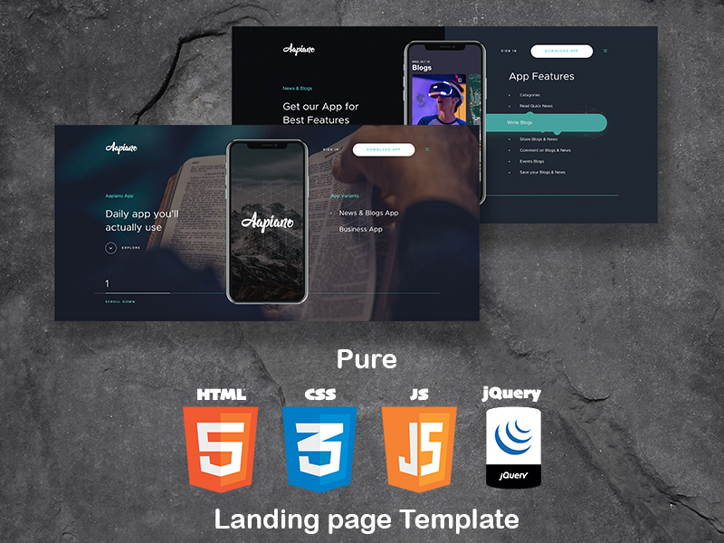 Aapiano HTML App Landing Page Template