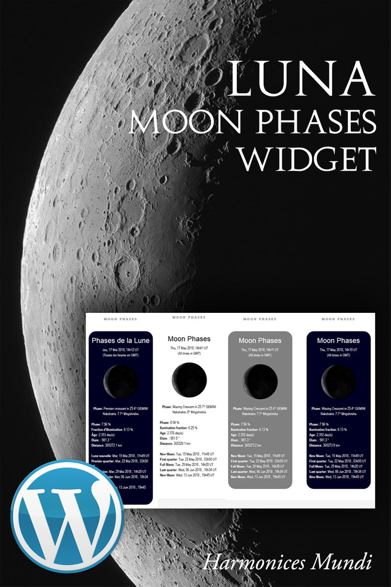 Luna Moon Phases WordPress Plugin New Screenshots