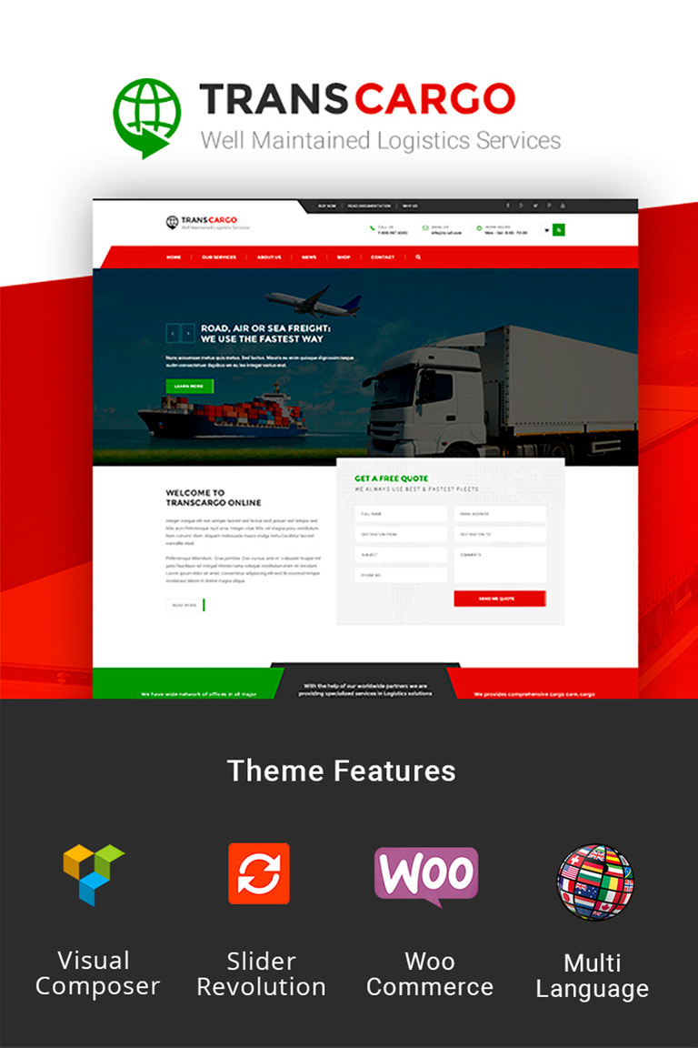 Trans Cargo - Transport & Logistics WordPress Theme #79369