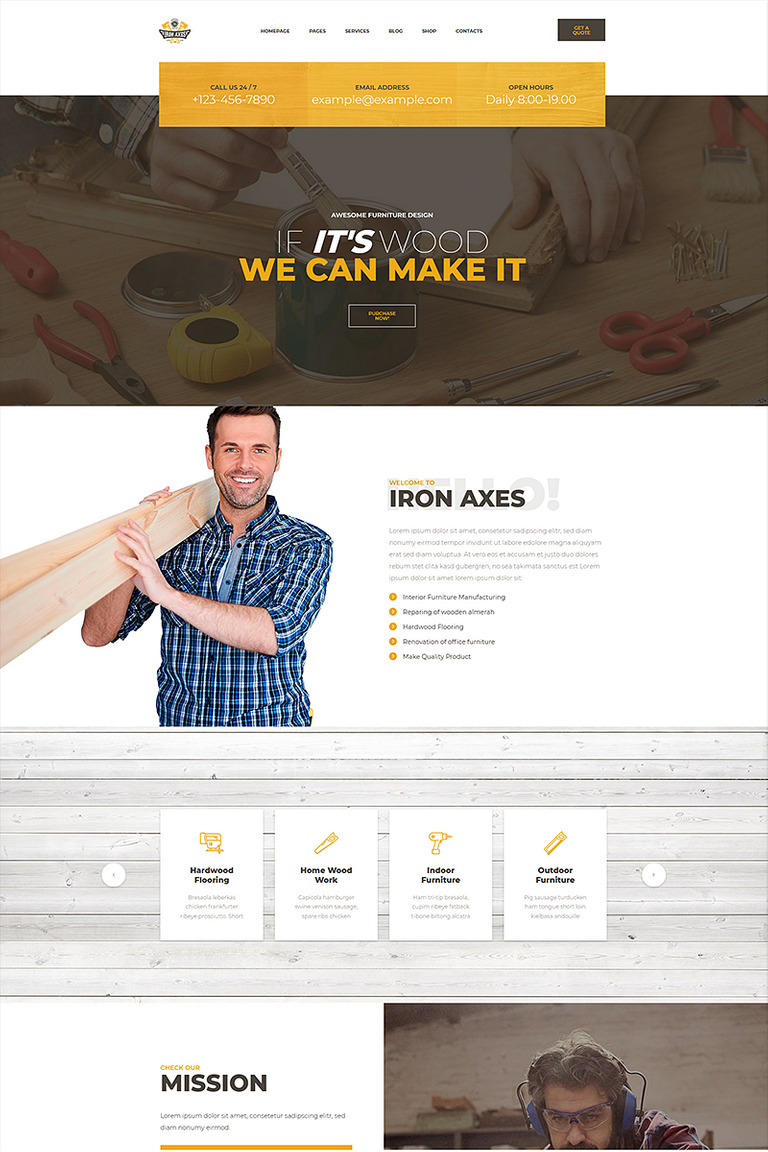 IronAxes - Carpenter & Handyman WordPress Theme