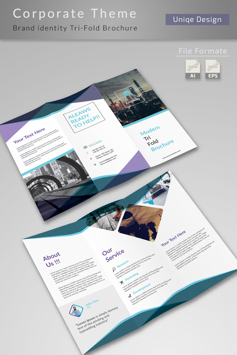 clean and creative trifold brochure corporate identity template 75939