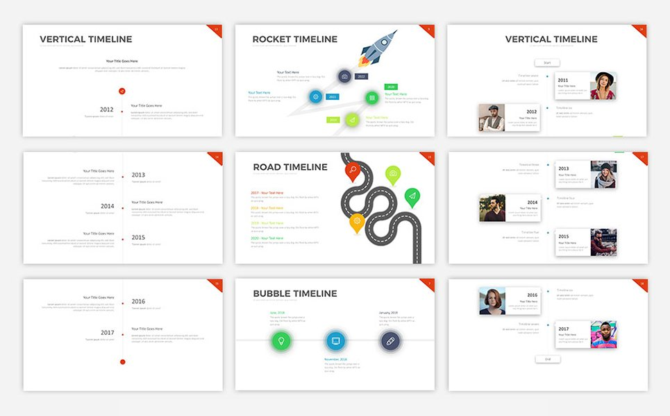 project timeline v5 powerpoint template 68588