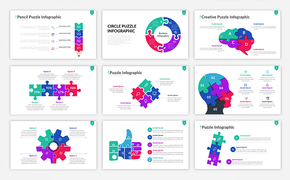 puzzle infographic presentation powerpoint template  68579