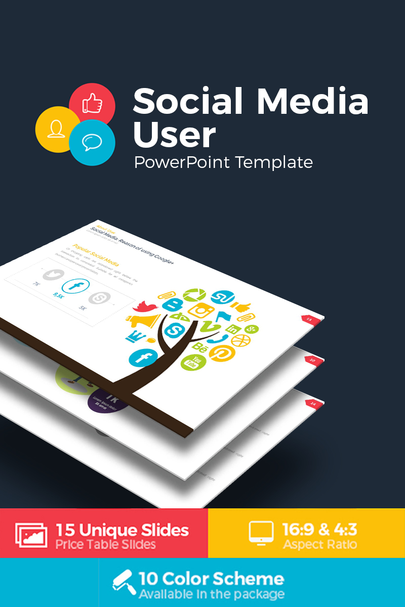 social media user infographic powerpoint template 68765