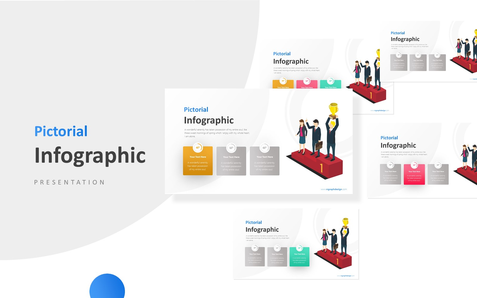 Winner Infographic with Three Businessman Presentation PowerPoint Template