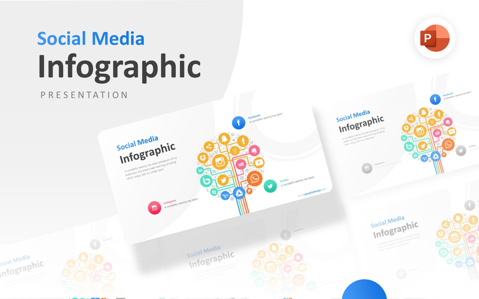 Social Media Icons Factor Infographic Presentation PowerPoint Template