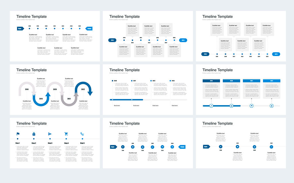 Timeline Pack For Powerpoint Powerpoint Template 67735