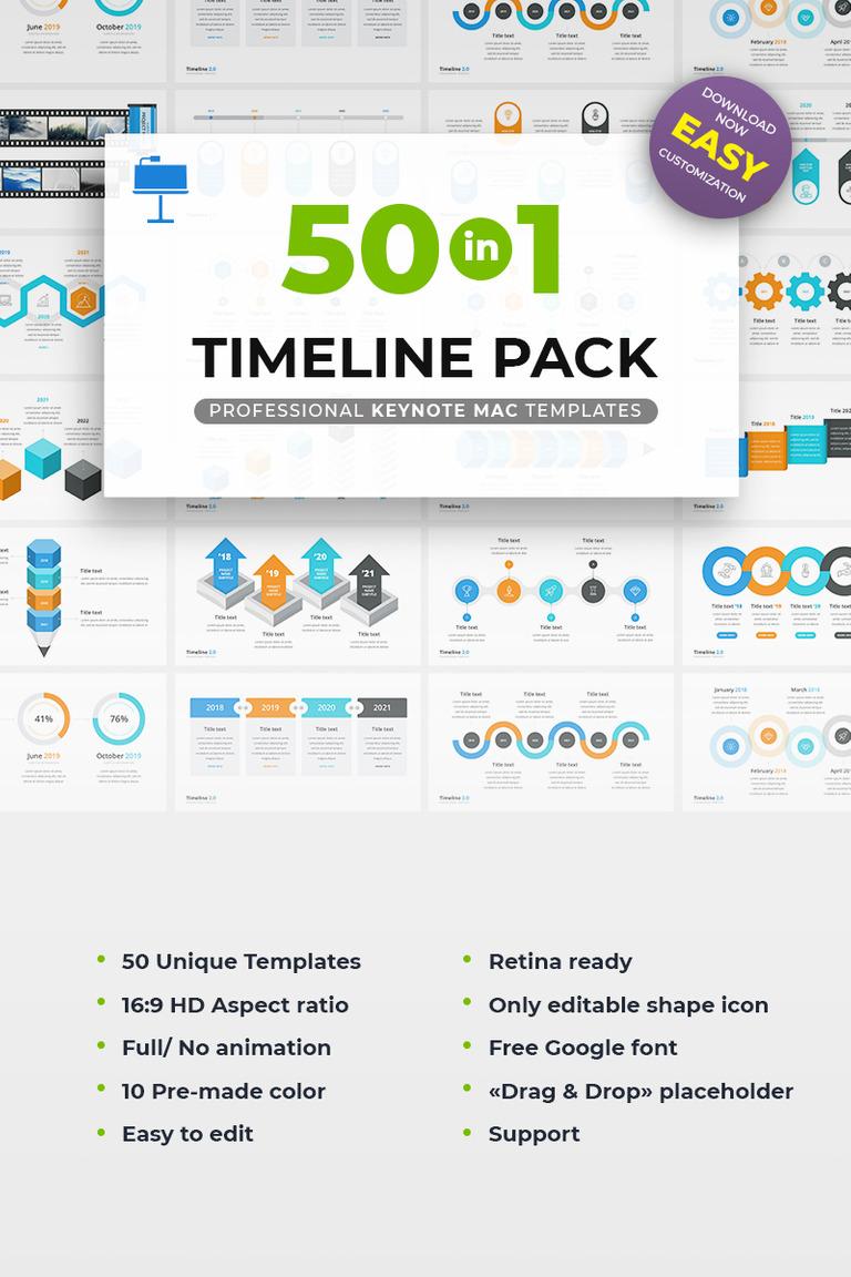 Timeline Pack 50 in 1 Keynote Template #69019