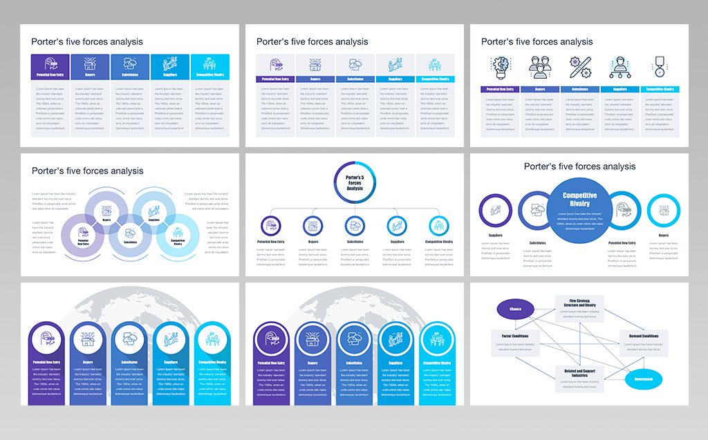 porters five forces analysis powerpoint template big screenshot
