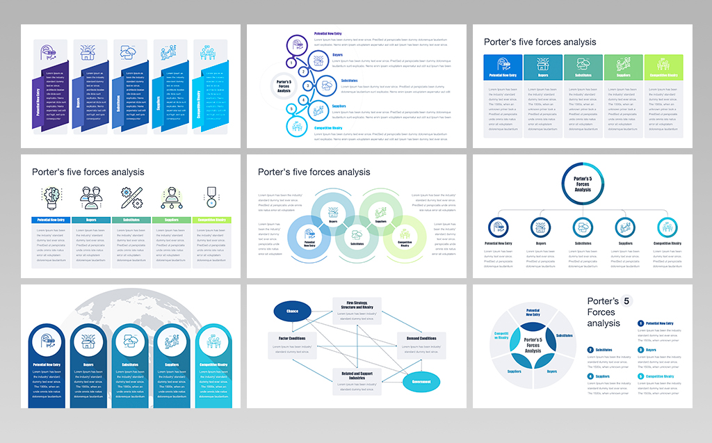Porters Five Forces Analysis Powerpoint Template  70107