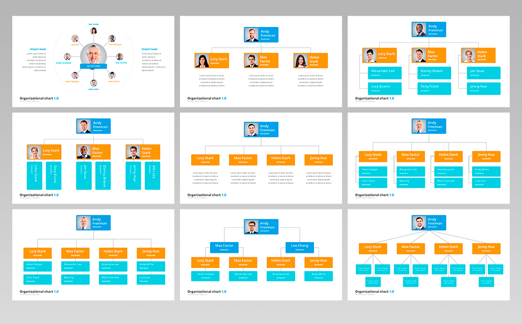Organizational Chart Hierarchy Powerpoint Template 70618