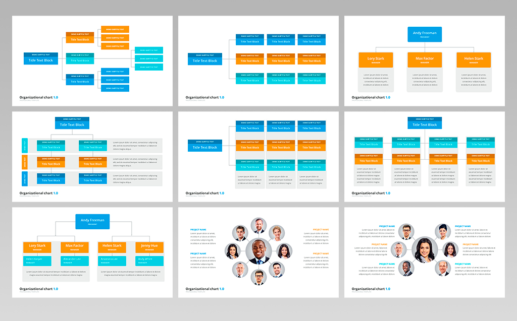 organizational chart and hierarchy presentation keynote template