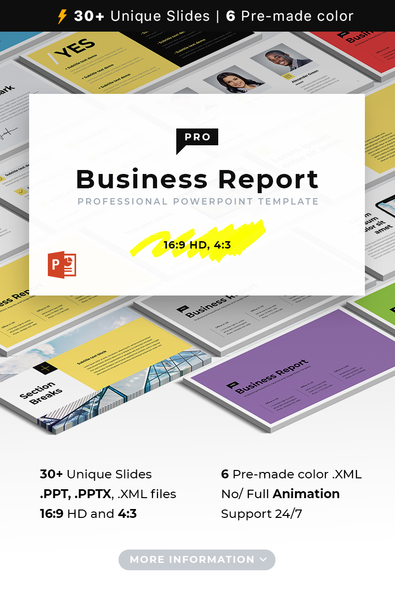 Business report pro powerpoint template 73235 flashek Gallery