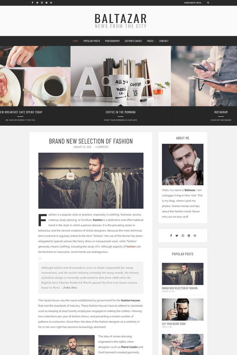 Baltazar - A Masculine Blog WordPress Theme