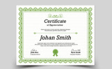 "Šablona certifikátu  ""Johan Smith Appreciation"""