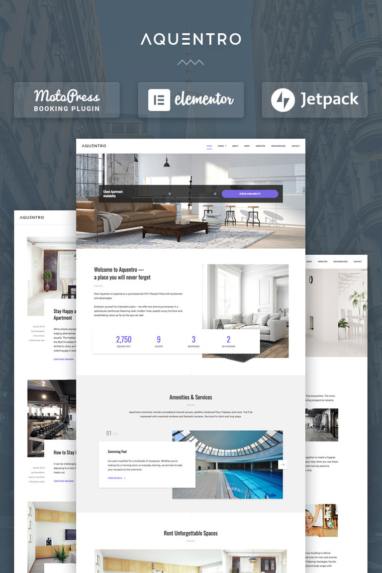 Aquentro - Single Property Rental WordPress Theme