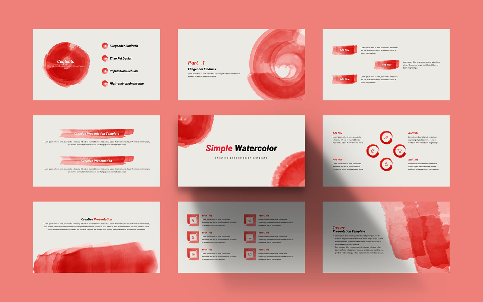 Simple Wind Watercolor PowerPoint Template