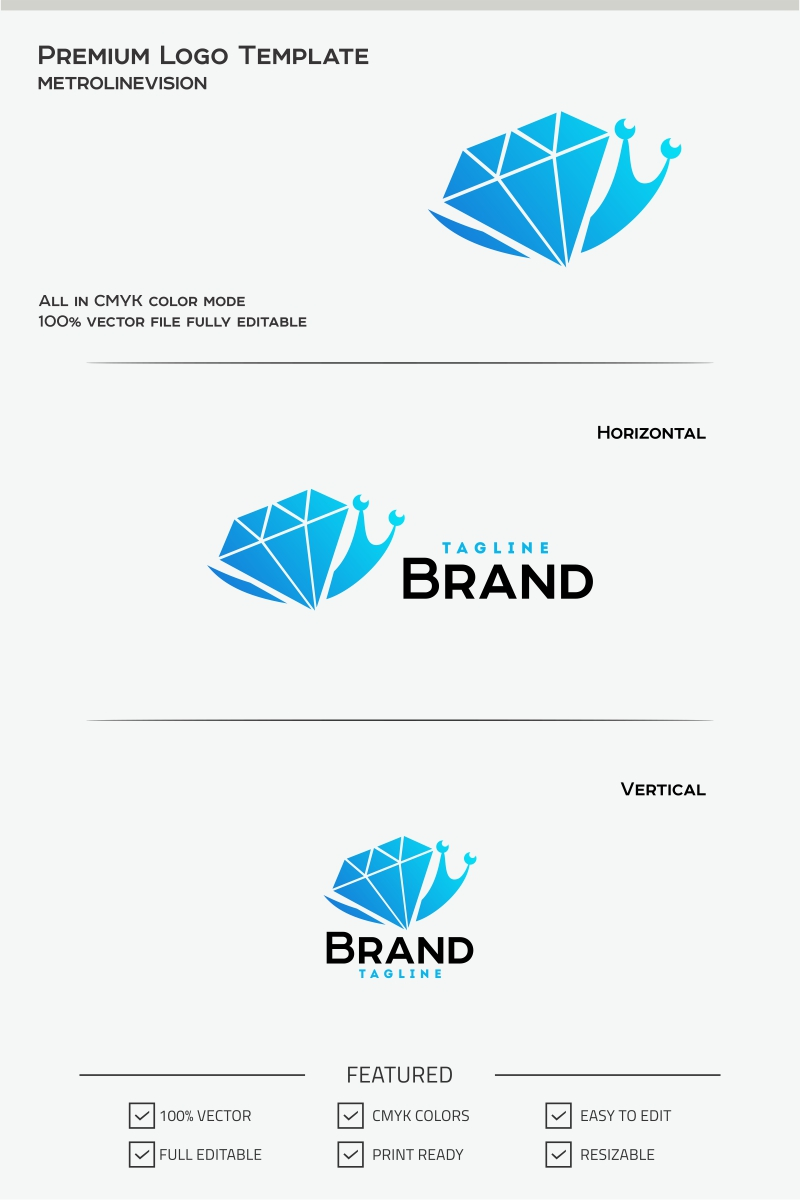 diamond snail logo template 70466