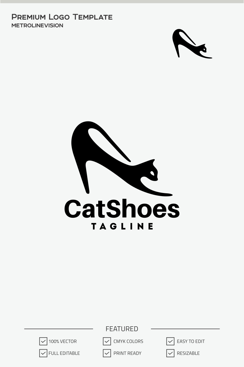 cat shoes logo template  70861