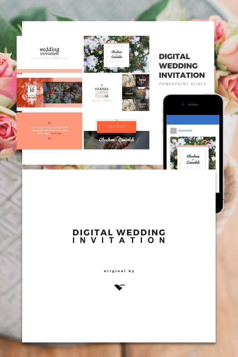 Digital Wedding Invitation, Wedding Invitation, wedding gift PowerPoint Template Big Screenshot