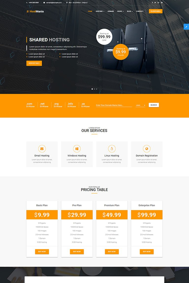 hostmania | material design web hosting and whmcs website template
