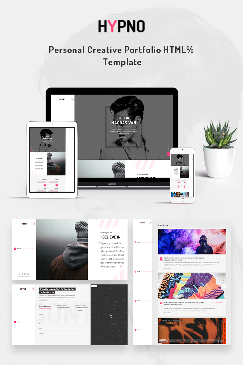 hypno personal creative portfolio website template 68758