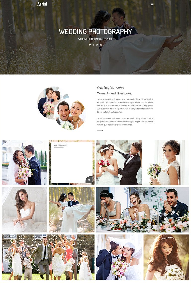 Aerial Wedding Photography Website Template - Wedding photography website templates