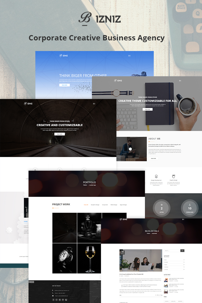 bizniz – creative agency website template #68955