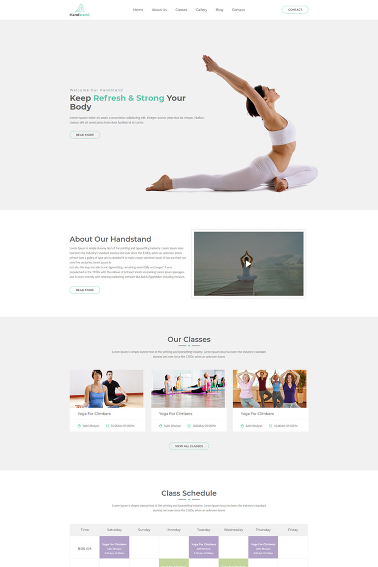Handstand - Gym & Fitness Website Template