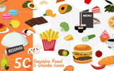 50 Food & Drinks Icons Iconset Template