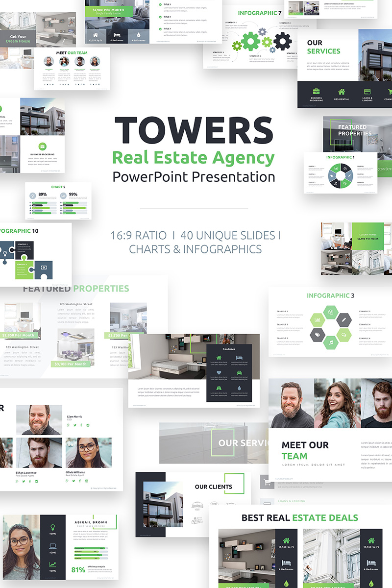 towers real estate agency powerpoint template 76012