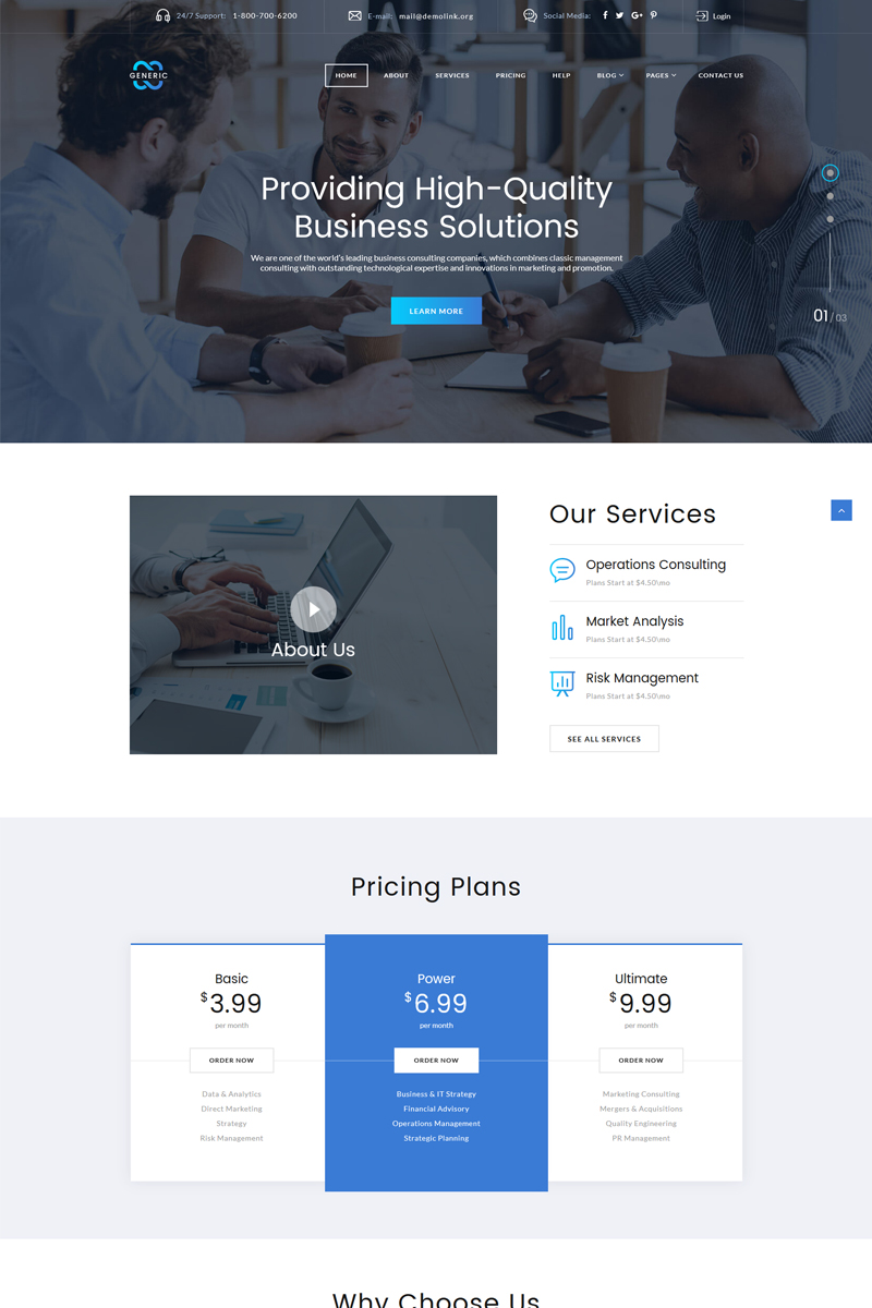 business multipage html template