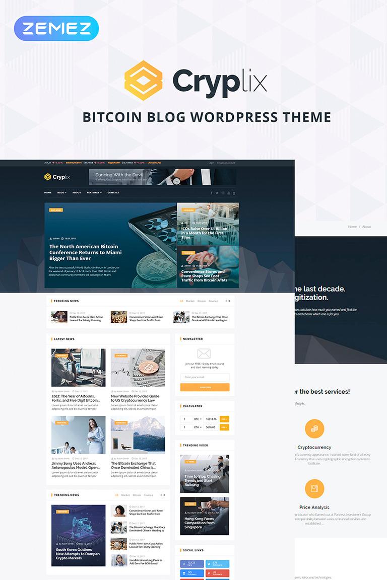 Cryplix Bitcoin Blog Wordpress Theme 67737