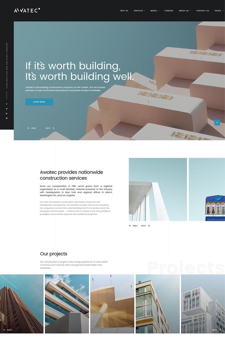 Website Vorlage #67774 für Baufirma