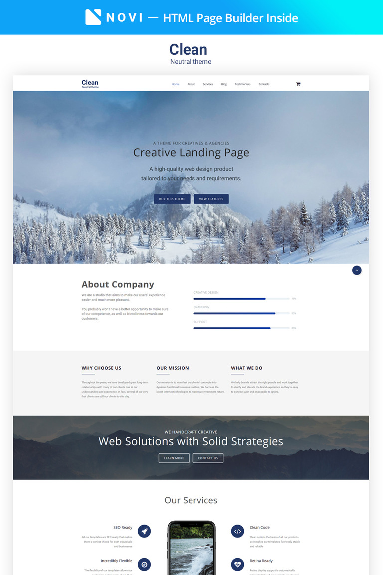 clear simple creative agency html with novi builder landing page template big screenshot