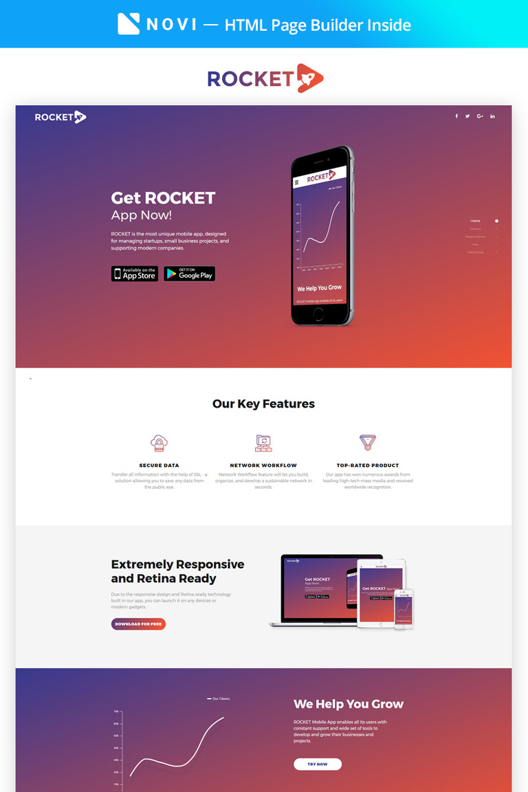App Landing Page HTML Template - Landing page html template