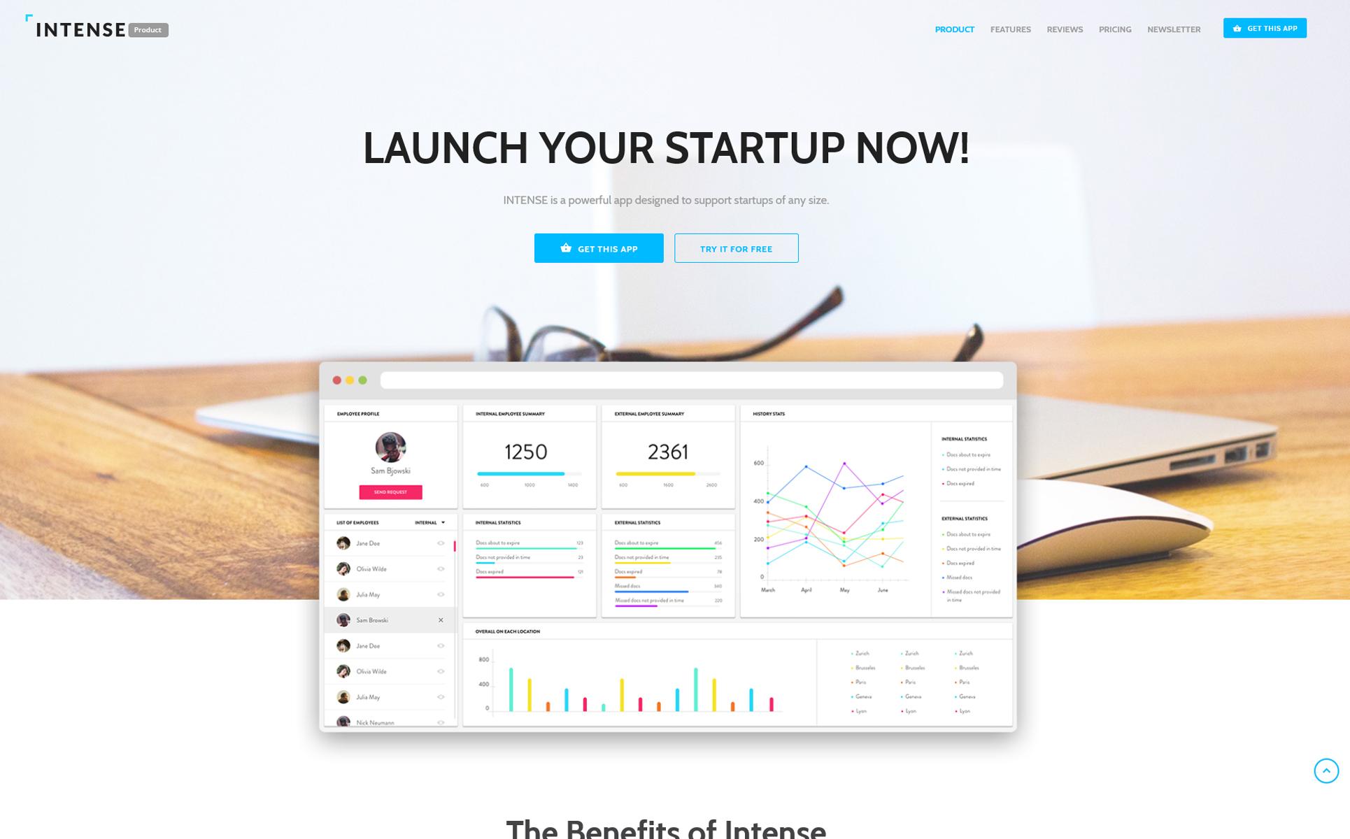 Plantilla para landing page - Categoría: Software - versión para Desktop