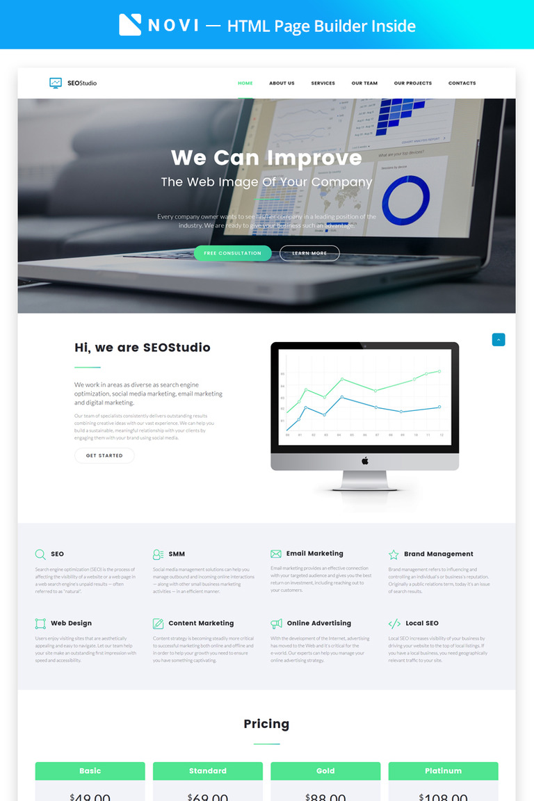 Landing Page Template With Novi Builder - Seo landing page template