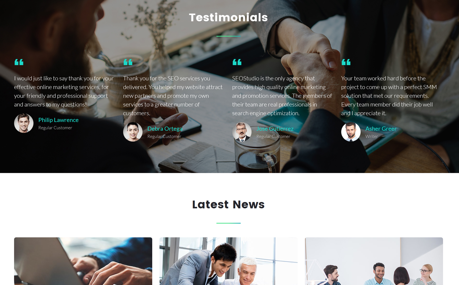 Plantilla para landing page - Categoría: Negocios - versión para Desktop