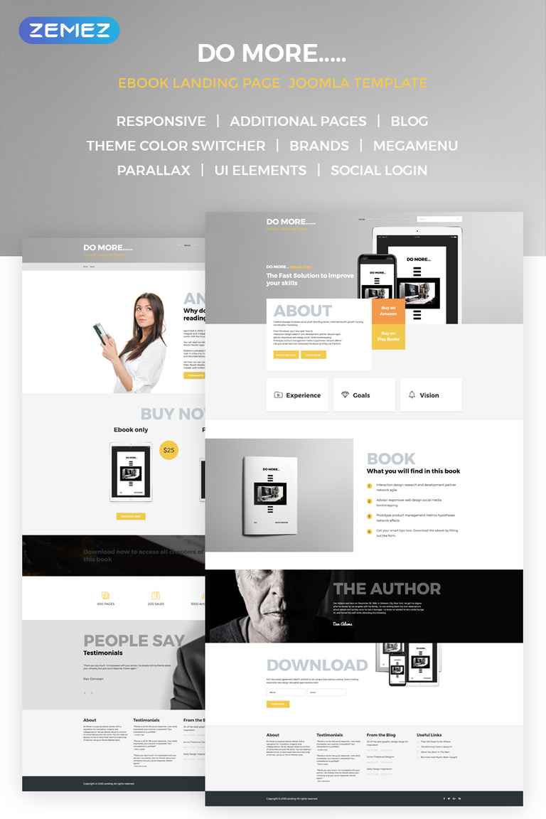 EBook Landing Page Joomla Template New Screenshots BIG