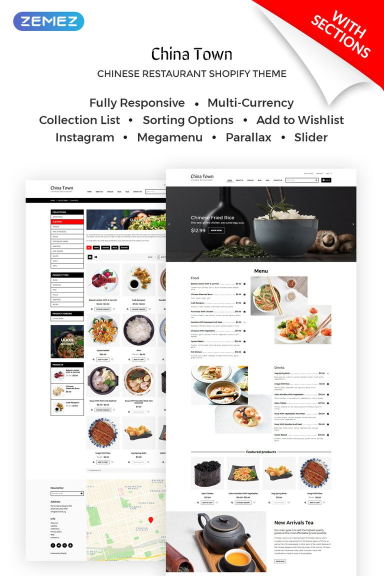 China Town Sushi Restaraunt Shopify Theme - Shopify page templates