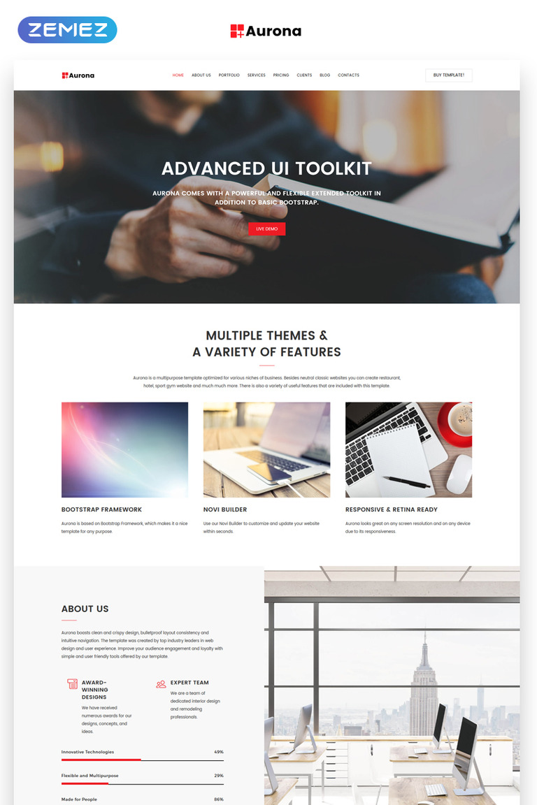 Aurona Landing Page HTML Template - Landing page html template