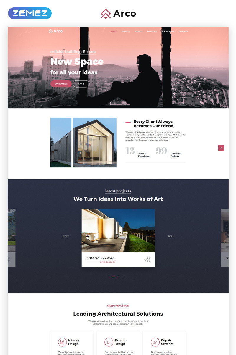 Arco   Elegant Architect Portfolio HTML Landing Page Template Big Screenshot