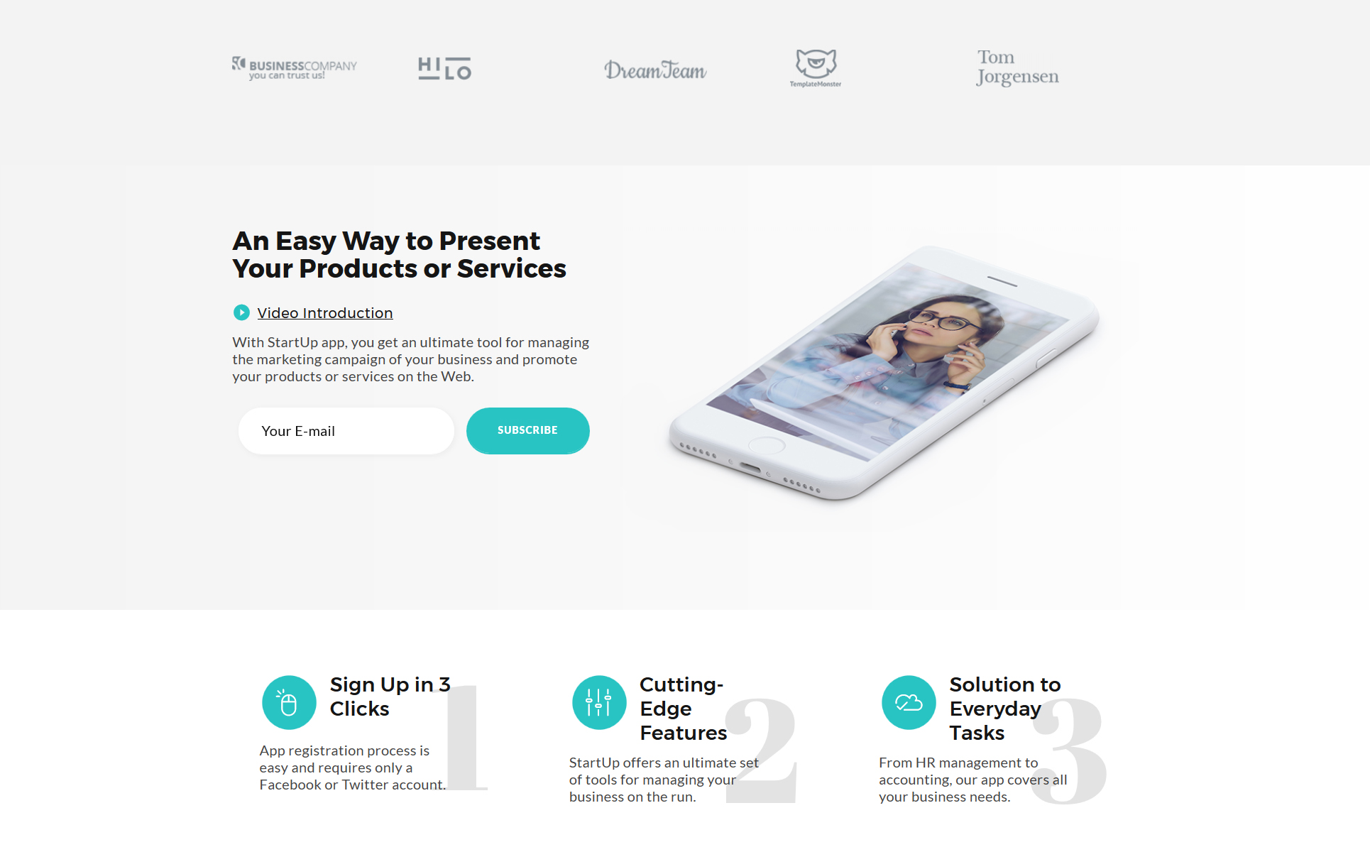 Startup company landing page html5 template zoom in live demo accmission Image collections