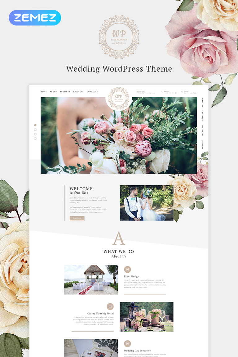 Belle Fleur - Wedding Landing Elementor WordPress Theme #69993