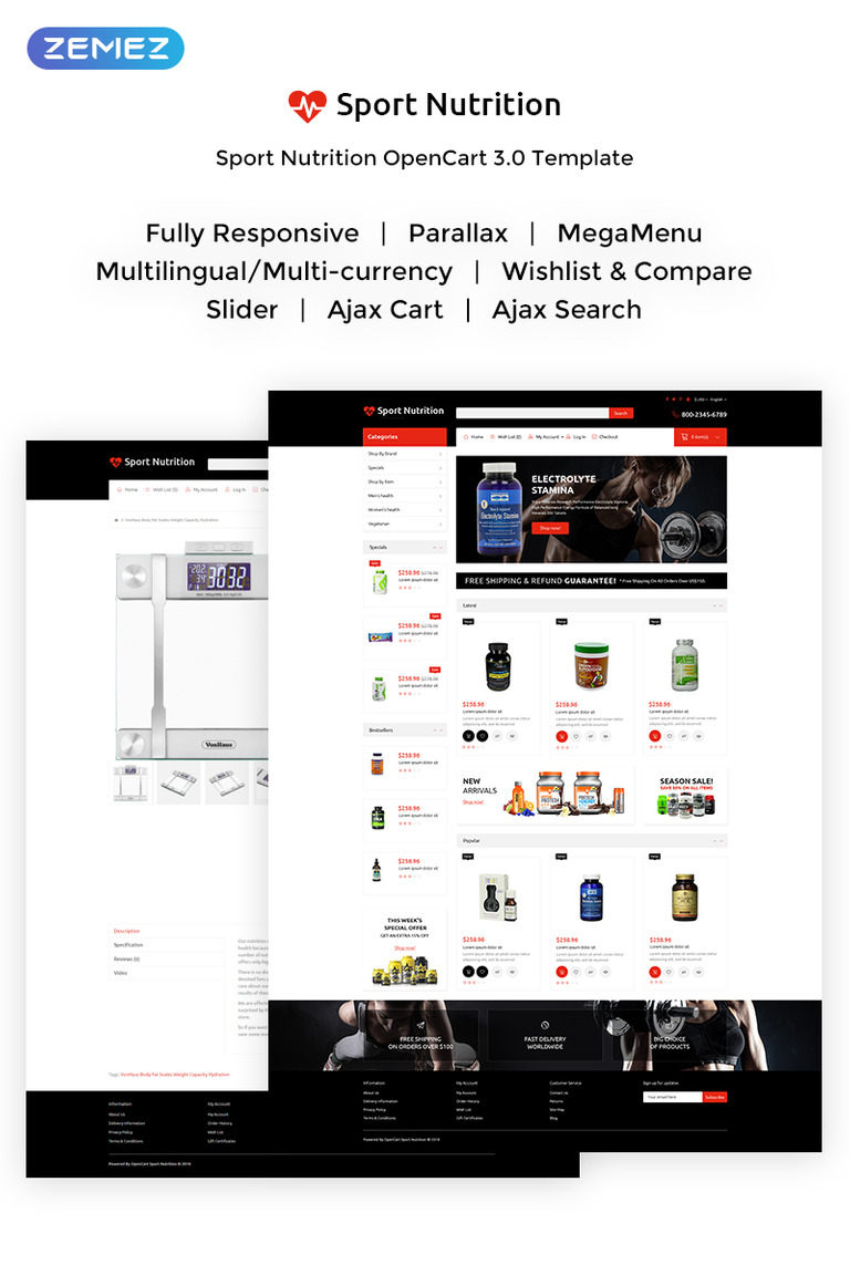 544af60ac Sport Nutrition - Reliable Sport Nutrition OpenCart Template New  Screenshots BIG