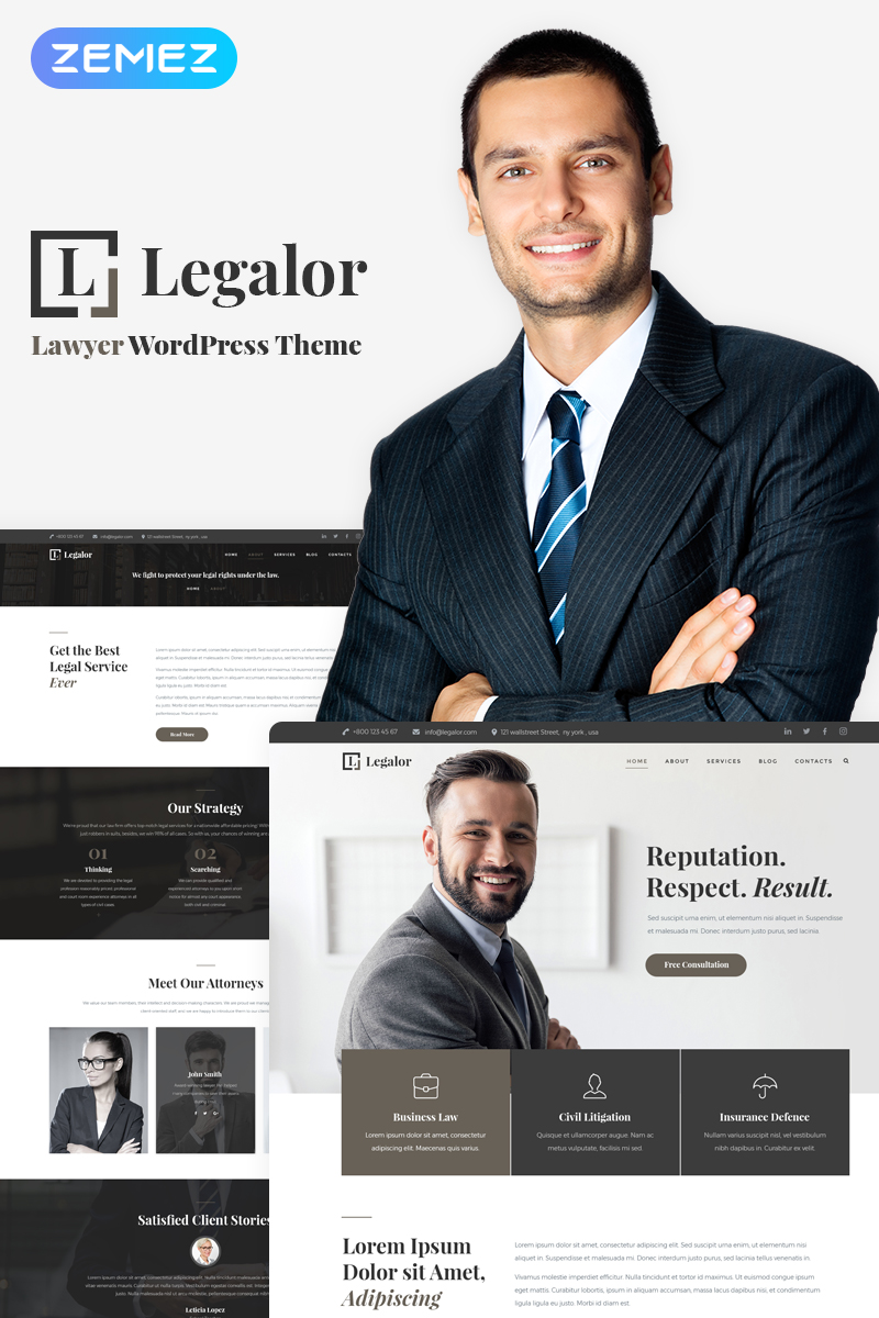 Адаптивный шаблон №70389 на тему бизнес и услуги, адвокат, юрист