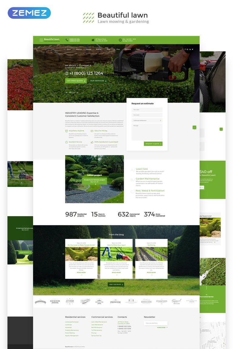 Beautiful Lawn Moving And Gardening Website Template Screenshot