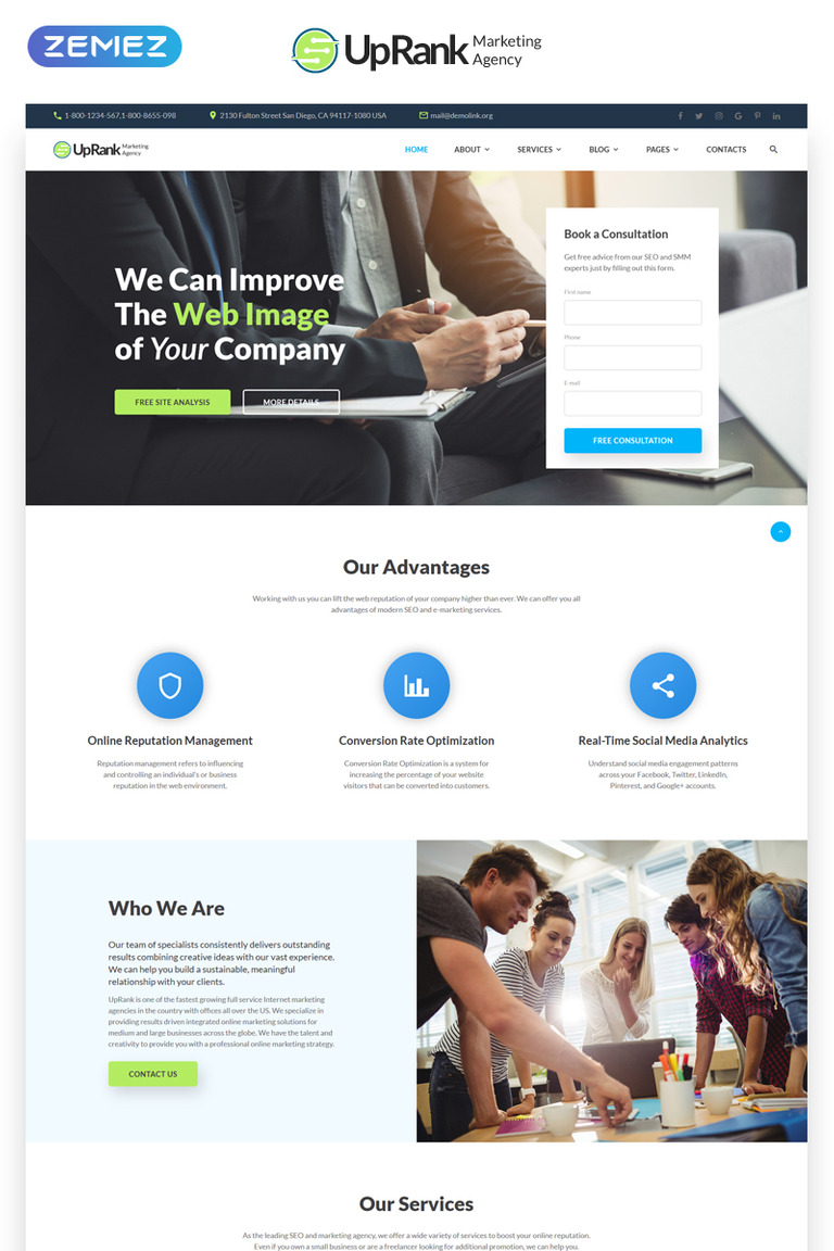 UpRank - Stylish Marketing Agency Multipage Website Template