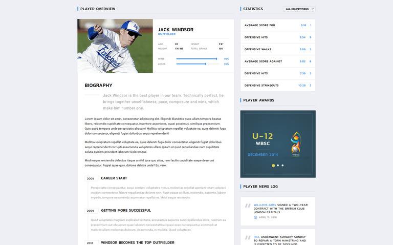 Website Vorlage #70848 für Baseball